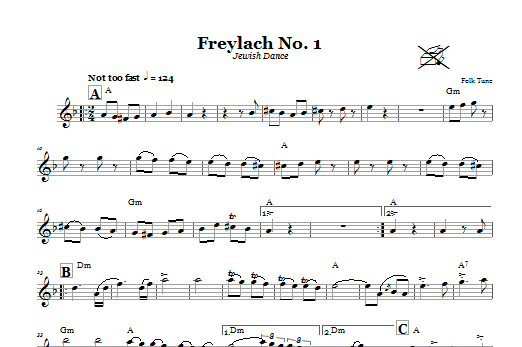 Download Folk Tune Freylach No. 1 (Jewish Dance) sheet music and printable PDF score & Religious music notes