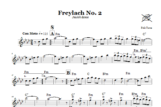 Download Folk Tune Freylach No. 2 (Jewish Dance) sheet music and printable PDF score & Religious music notes