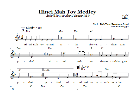 Download Folk Tune Hinei Mah Tov Medley (Behold How Good And Pleasant It Is) sheet music and printable PDF score & Religious music notes