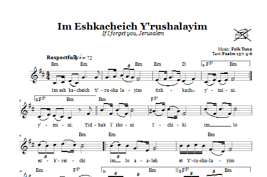 Download Folk Tune Im Eshkacheich Y'rushalayim (If I Forget You, Jerusalem) sheet music and printable PDF score & Religious music notes