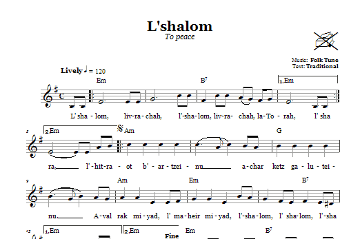 Download Folk Tune L'shalom (To Peace) sheet music and printable PDF score & Religious music notes
