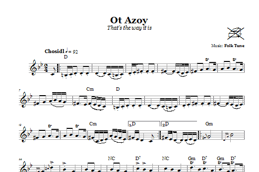 Download Folk Tune Ot Azoy (That's The Way It Is) sheet music and printable PDF score & Religious music notes