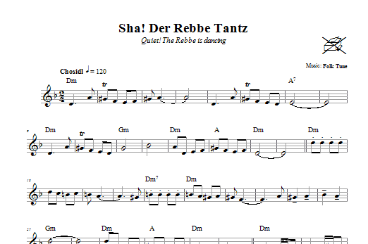 Download Folk Tune Sha! Der Rebbe Tantz (Quiet! The Rebbe Is Dancing) sheet music and printable PDF score & Religious music notes