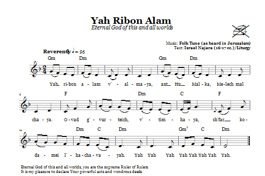 Download Folk Tune Yah Ribon Olam (Eternal God Of This And All Worlds) sheet music and printable PDF score & Religious music notes