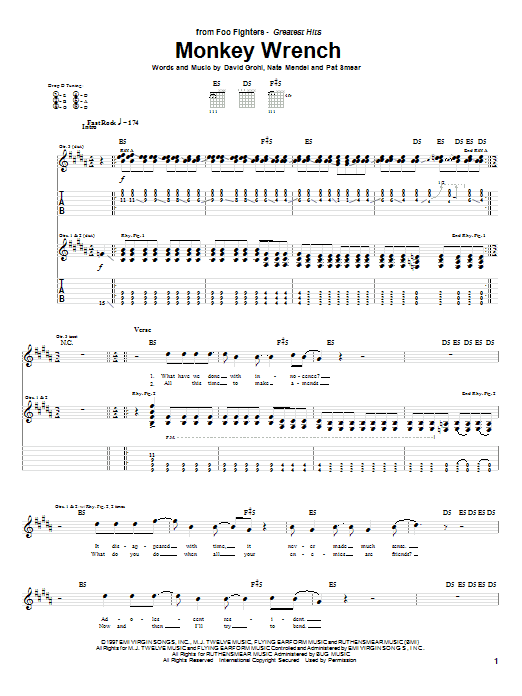 Download Foo Fighters Monkey Wrench sheet music and printable PDF score & Pop music notes