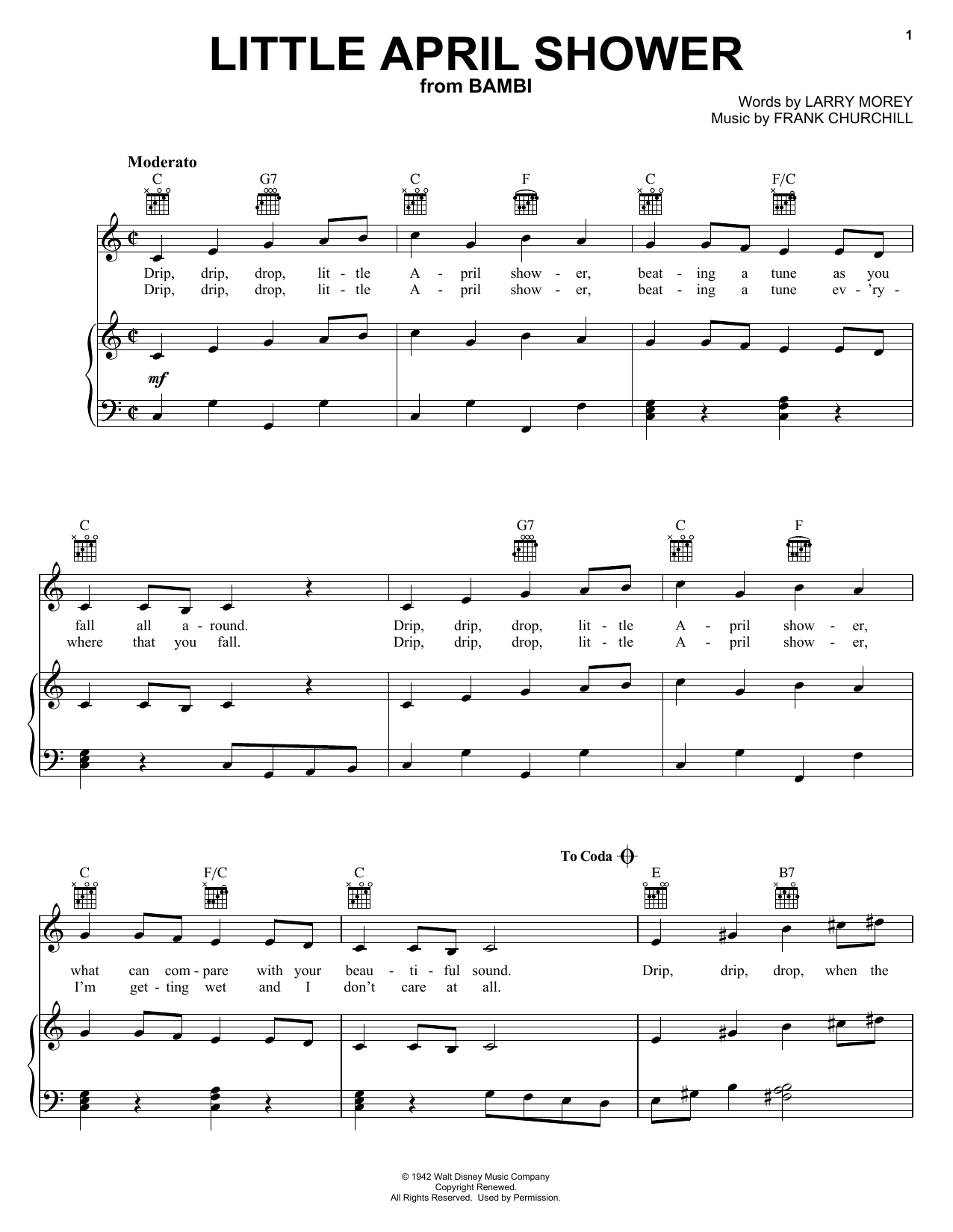 Download Frank Churchill Little April Shower (from Disney's Bambi) sheet music and printable PDF score & Disney music notes