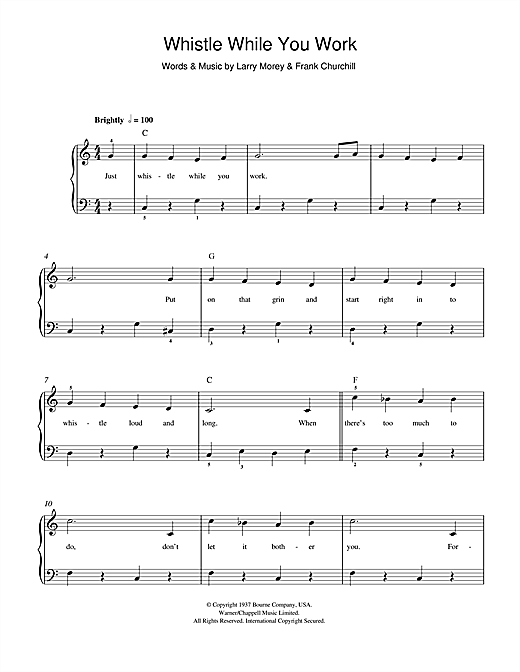 Download Frank Churchill Whistle While You Work (from Walt Disney's Snow White And The Seven Dwarfs) sheet music and printable PDF score & Film and TV music notes