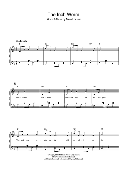 Download Frank Loesser The Inch Worm sheet music and printable PDF score & Children music notes