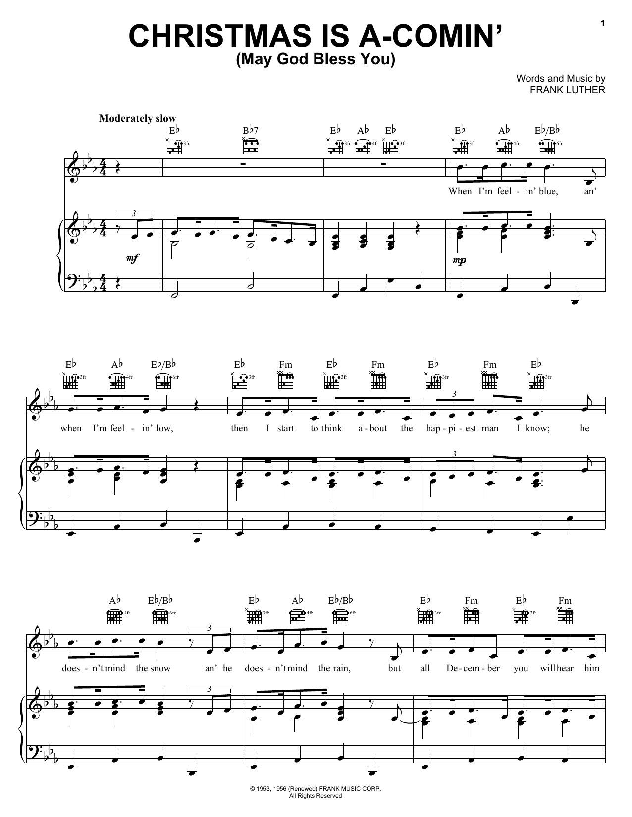 Download Frank Luther Christmas Is A-Comin' (May God Bless You) sheet music and printable PDF score & Jazz music notes