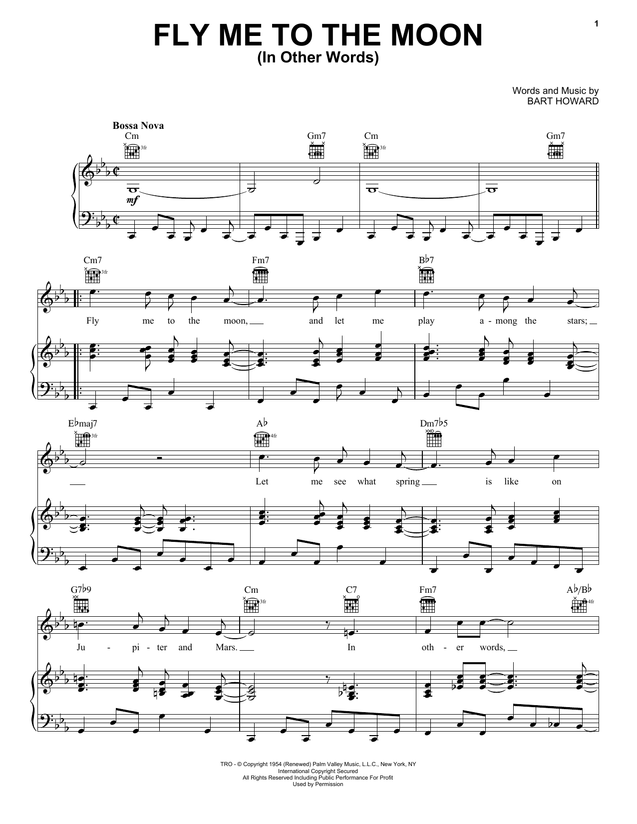 Download Frank Sinatra Fly Me To The Moon (In Other Words) sheet music and printable PDF score & Jazz music notes