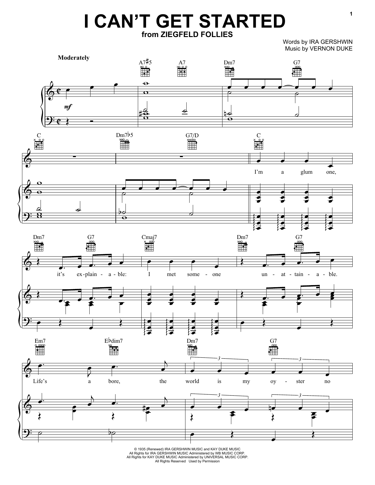Download Frank Sinatra I Can't Get Started With You sheet music and printable PDF score & Broadway music notes