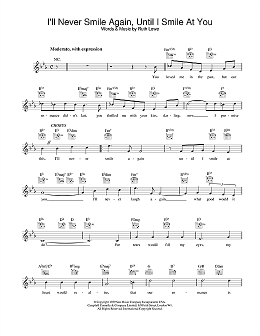 Download Frank Sinatra I'll Never Smile Again, Until I Smile At You sheet music and printable PDF score & Jazz music notes