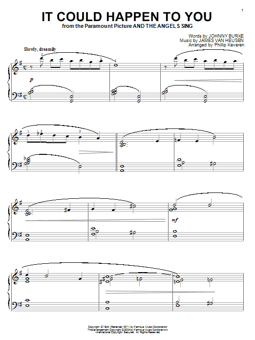 Download Frank Sinatra It Could Happen To You sheet music and printable PDF score & Folk music notes