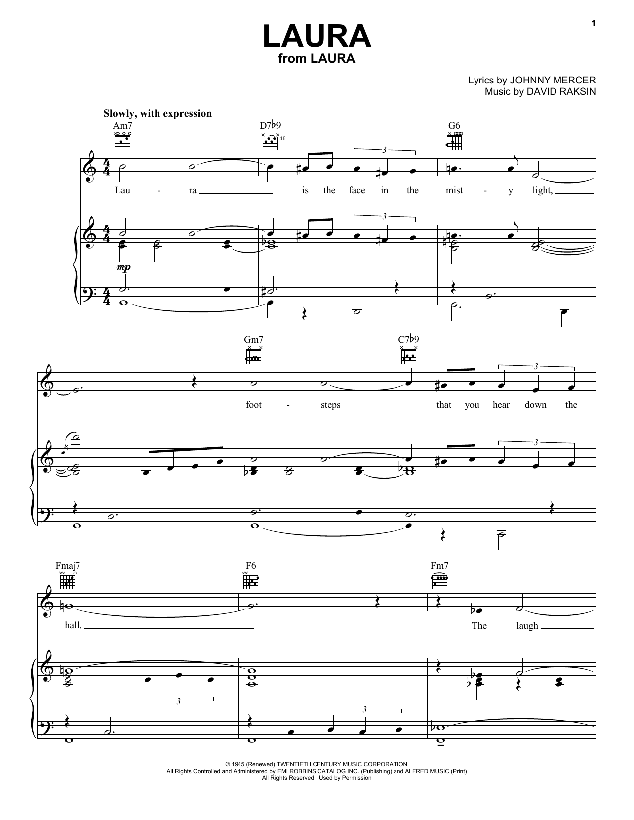 Download Frank Sinatra Laura sheet music and printable PDF score & Jazz music notes