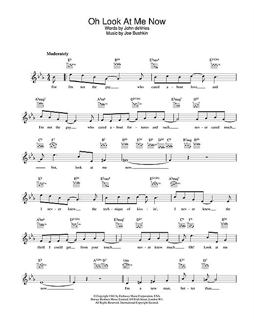 Download Frank Sinatra Oh Look At Me Now sheet music and printable PDF score & Jazz music notes