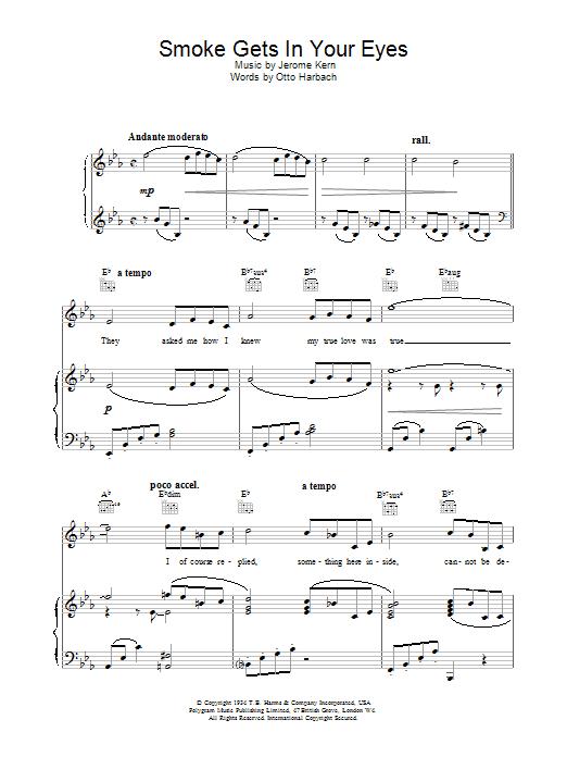 Download Jerome Kern Smoke Gets In Your Eyes sheet music and printable PDF score & Jazz music notes