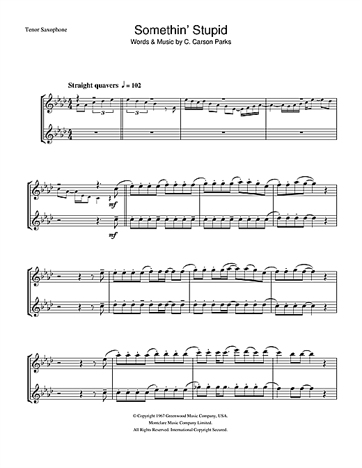 Download Frank Sinatra Somethin' Stupid sheet music and printable PDF score & Jazz music notes