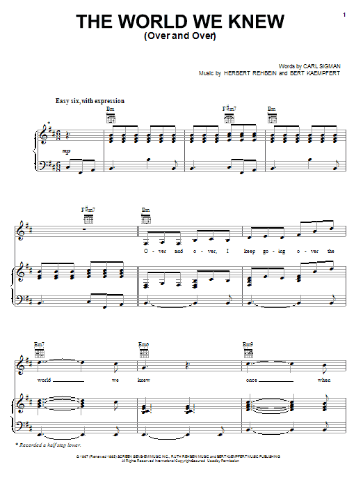 Download Frank Sinatra World We Knew (Over And Over) sheet music and printable PDF score & Rock music notes
