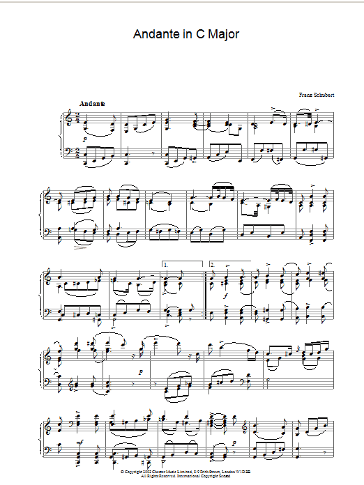 Download Franz Schubert Andante in C Major sheet music and printable PDF score & Classical music notes