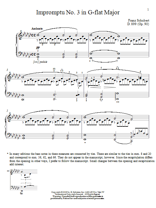 Download Franz Schubert Impromptu No. 3 In G-Flat Major sheet music and printable PDF score & Classical music notes