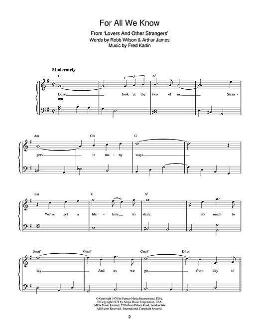 Download Fred Karlin For All We Know sheet music and printable PDF score & Film and TV music notes