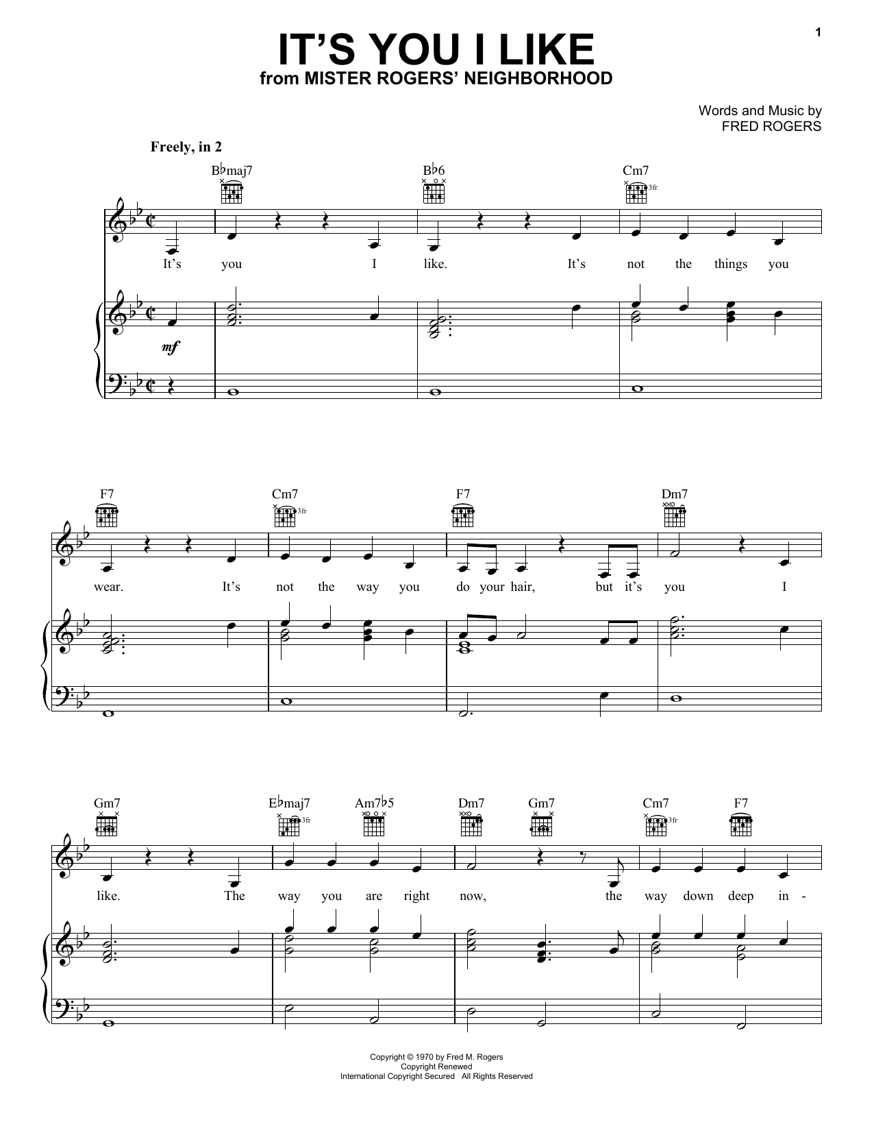 It S You I Like Sheet Music Notes Fred Rogers Chords Download Children Notes Piano Vocal Guitar Right Hand Melody Pdf Printable 253545