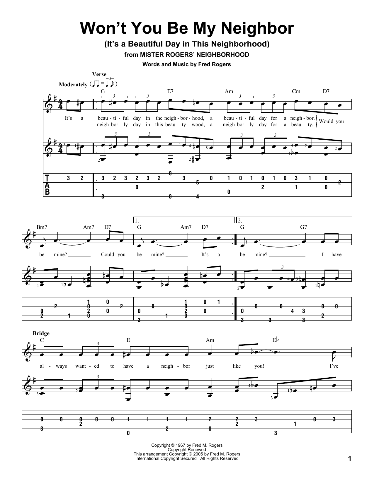 Won T You Be My Neighbor It S A Beautiful Day In The Neighborhood Sheet Music Notes Fred Rogers Chords Download Children Notes Melody Line Lyrics Chords Pdf Printable 188363