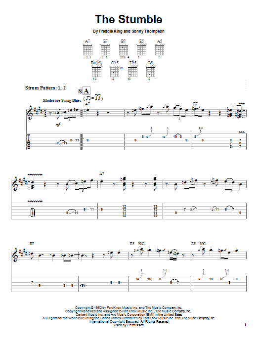 Download Freddie King The Stumble sheet music and printable PDF score & Pop music notes