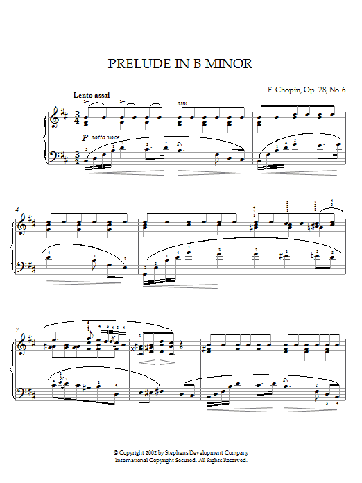 Download Frederic Chopin Prelude In B Minor, Op. 28, No. 6 sheet music and printable PDF score & Classical music notes