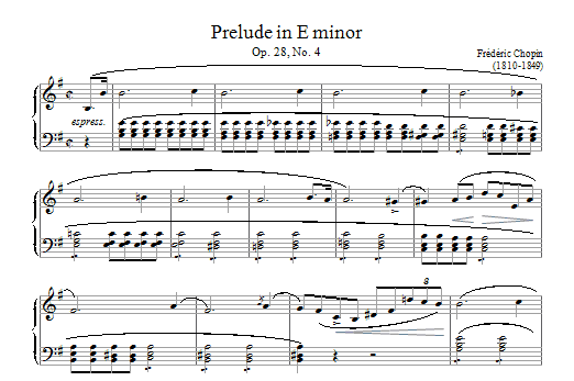 Download Frederic Chopin Prelude in E Minor, Op.28, No.4 sheet music and printable PDF score & Classical music notes