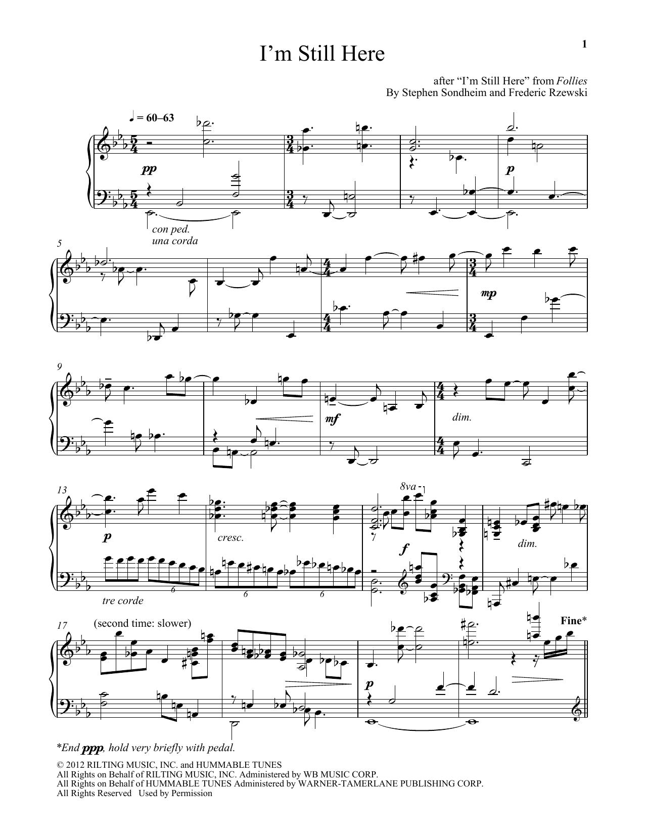 Download Frederic Rzewski I'm Still Here sheet music and printable PDF score & Broadway music notes
