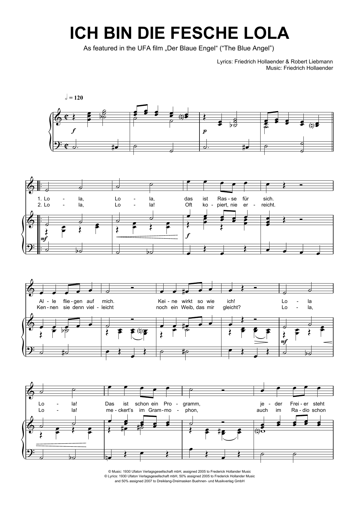 Friedrich Hollaender 'Ich Bin Die Fesche Lola' Sheet Music Notes, Chords    Download Printable Piano & Vocal   SKU 15