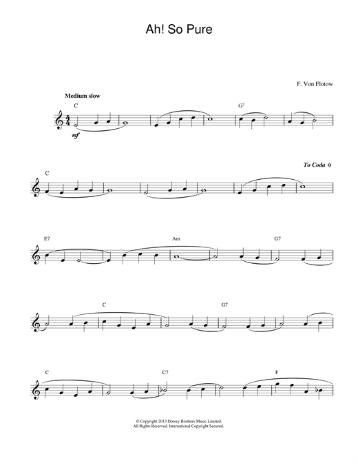 Download Friedrich von Flotow Ah! So Pure sheet music and printable PDF score & Classical music notes