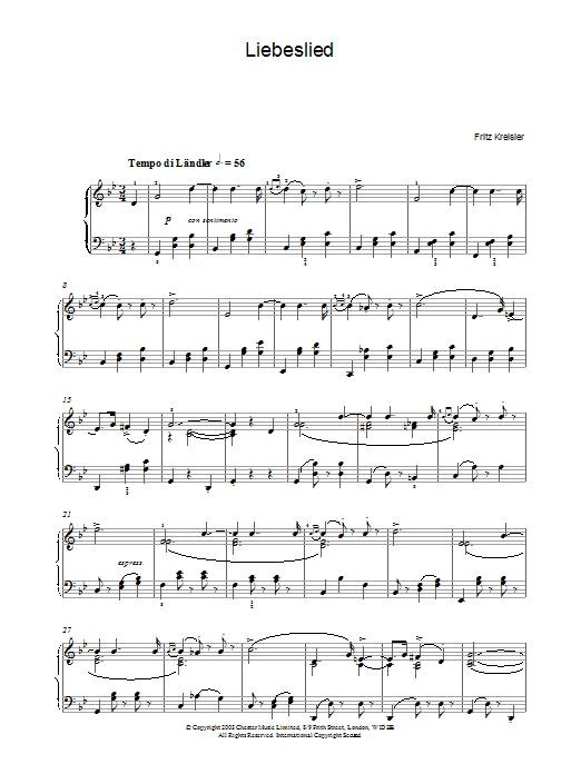 Download Fritz Kreisler Liebesleid sheet music and printable PDF score & Post-1900 music notes