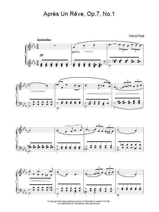 Download Gabriel Fauré Après Un Rêve, Op.7, No.1 sheet music and printable PDF score & Classical music notes