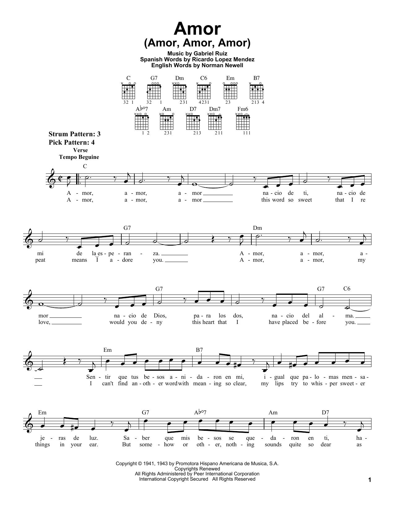 Download Gabriel Ruiz Amor (Amor, Amor, Amor) sheet music and printable PDF score & Pop music notes