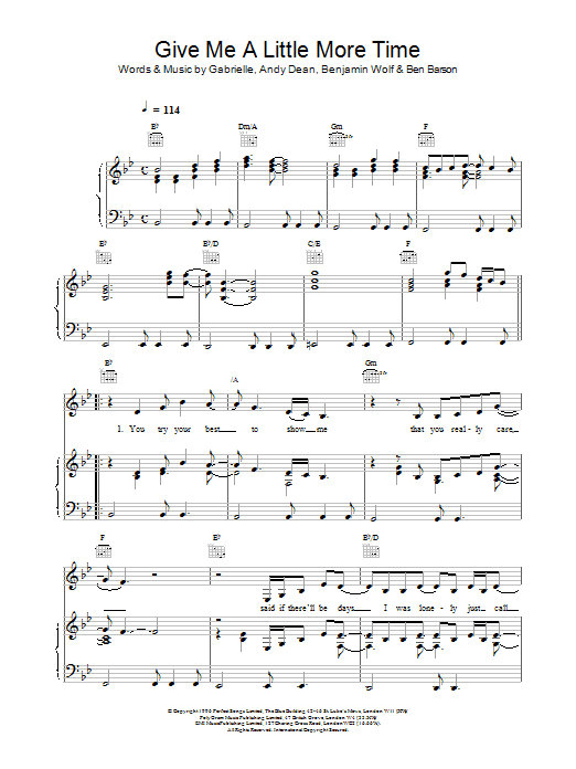 Download Gabrielle Give Me A Little More Time sheet music and printable PDF score & R & B music notes