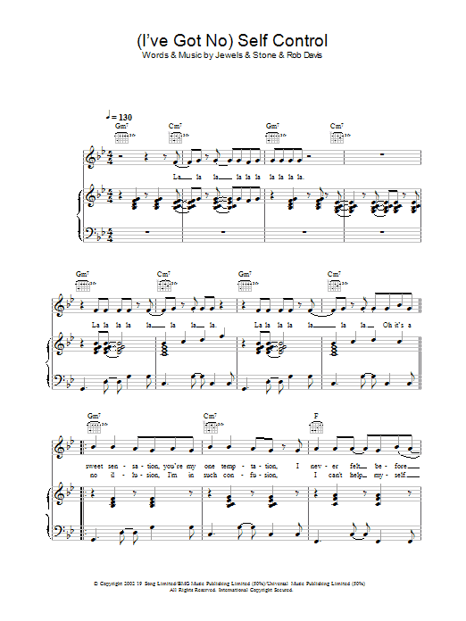Download Gareth Gates (I've Got No) Self Control sheet music and printable PDF score & Pop music notes