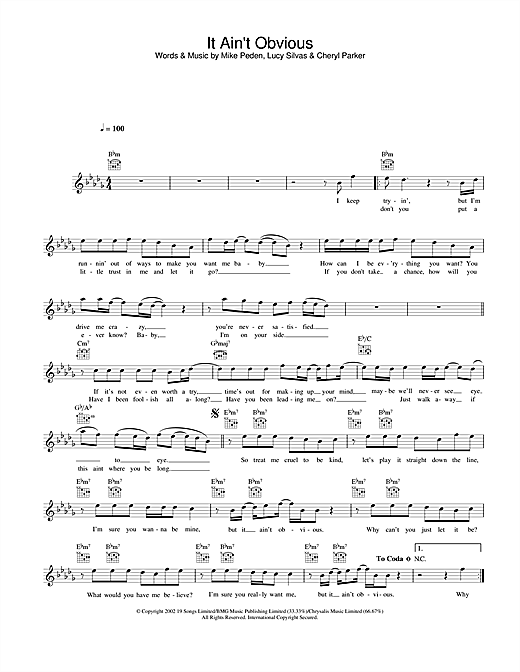 Download Gareth Gates It Ain't Obvious sheet music and printable PDF score & Pop music notes