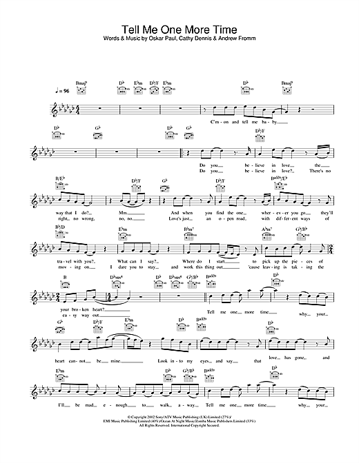 Download Gareth Gates Tell Me One More Time sheet music and printable PDF score & Pop music notes