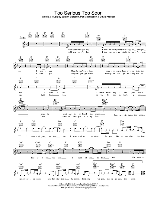 Download Gareth Gates Too Serious Too Soon sheet music and printable PDF score & Pop music notes