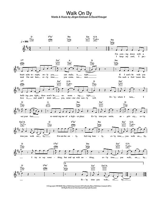 Download Gareth Gates Walk On By sheet music and printable PDF score & Pop music notes