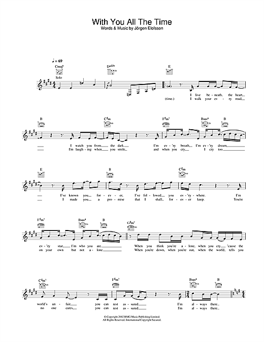Download Gareth Gates With You All The Time sheet music and printable PDF score & Pop music notes