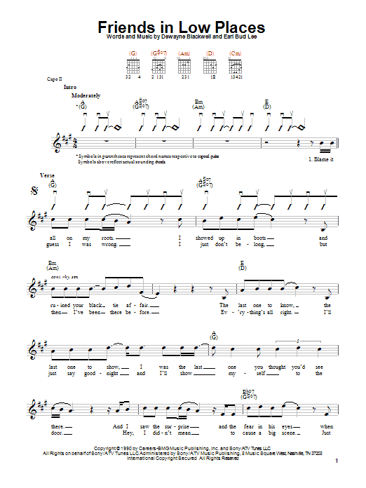 Download Garth Brooks Friends In Low Places sheet music and printable PDF score & Pop music notes