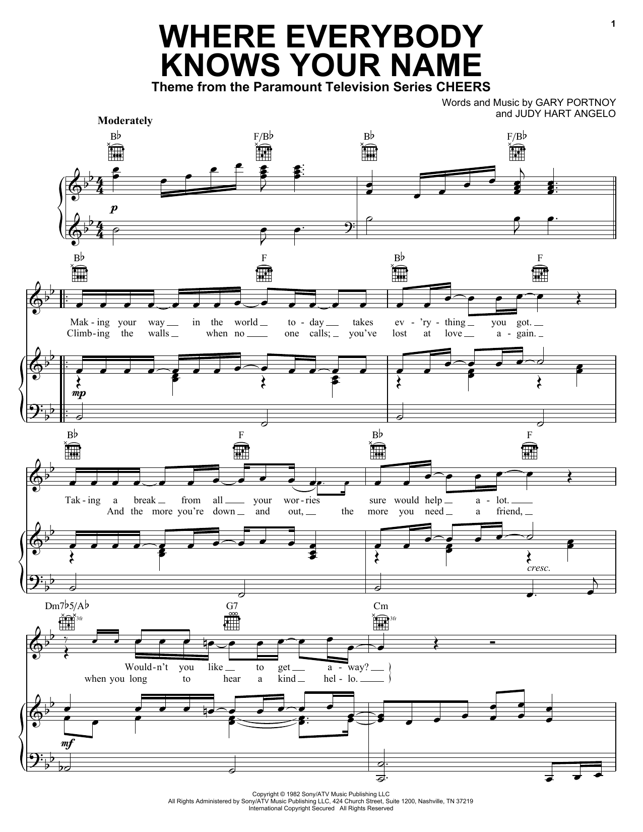 Download Gary Portnoy Where Everybody Knows Your Name sheet music and printable PDF score & Film and TV music notes