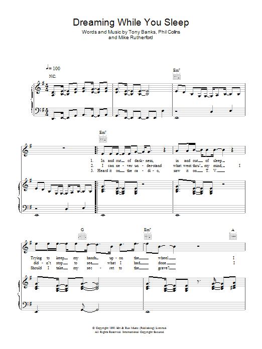Download Genesis Dreaming While You Sleep sheet music and printable PDF score & Rock music notes