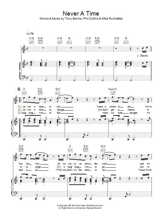 Download Genesis Never A Time sheet music and printable PDF score & Rock music notes