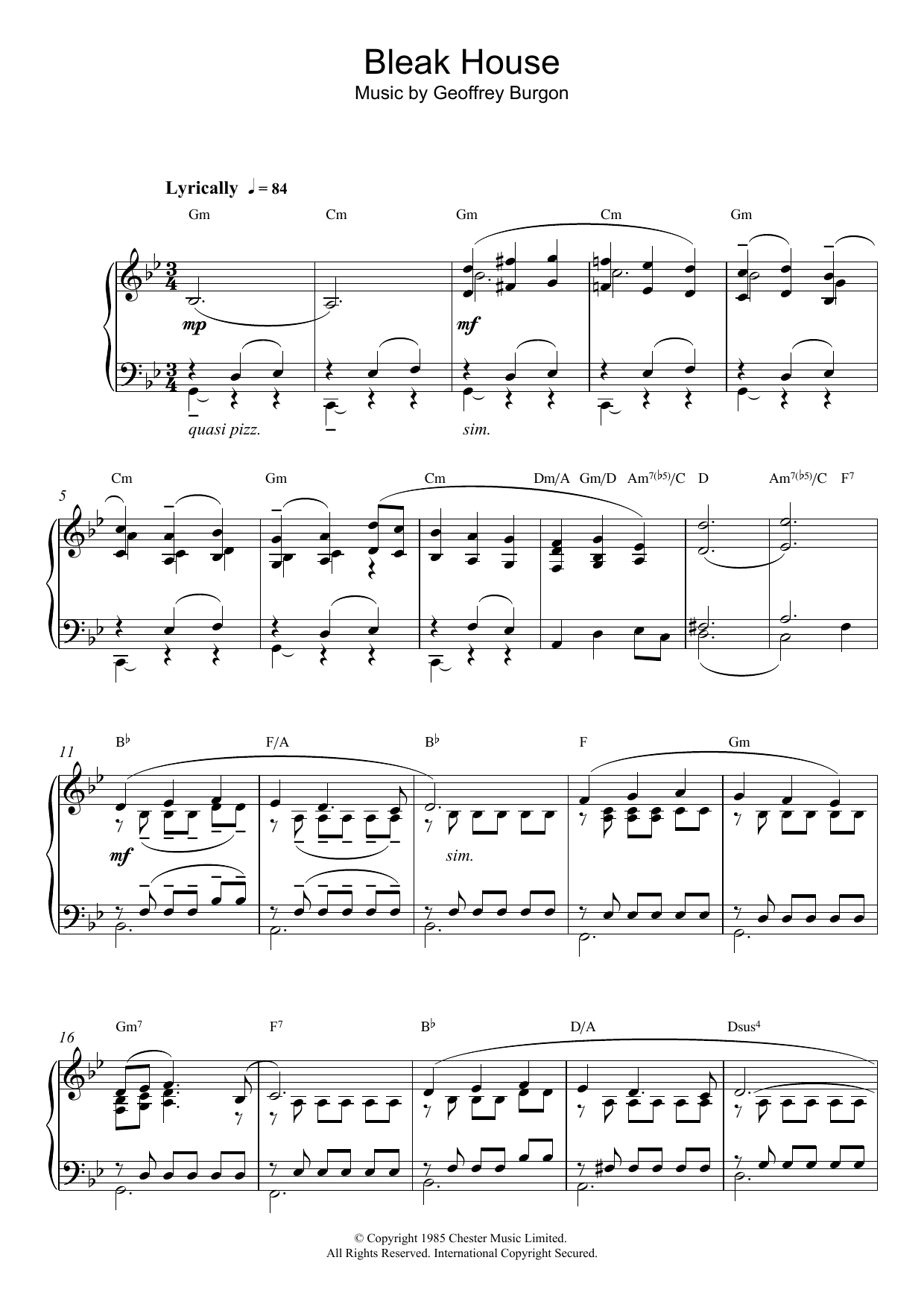 Download Geoffrey Burgon Theme from Bleak House sheet music and printable PDF score & Film and TV music notes