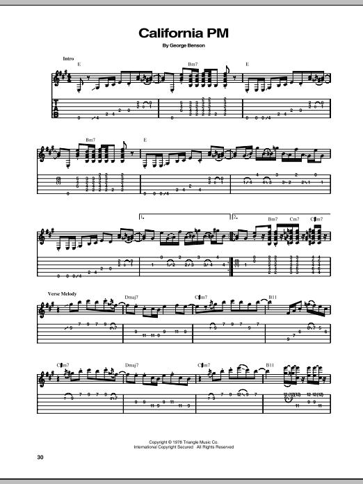 Download George Benson California PM sheet music and printable PDF score & Jazz music notes