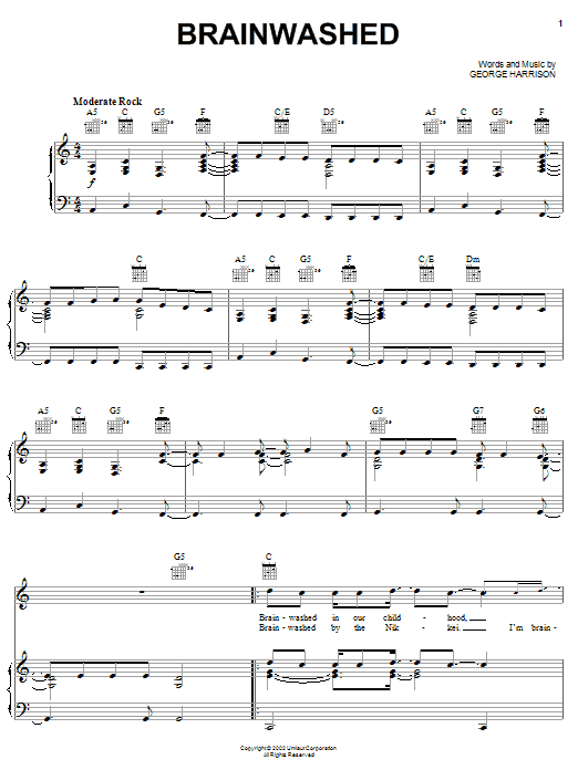 Download George Harrison Brainwashed sheet music and printable PDF score & Rock music notes